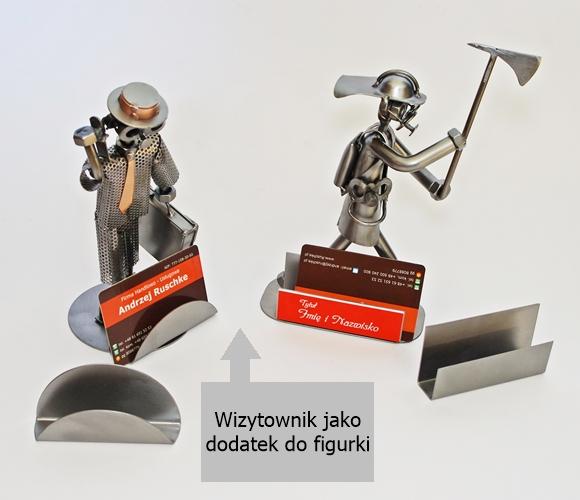 Metalowa figurka z wizytownikiem